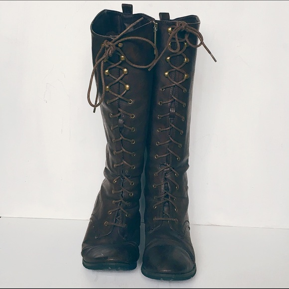 f51f99f551b2d Breckelles Shoes | Chocolate Brown Lace Up W Zip Knee High Boot ...